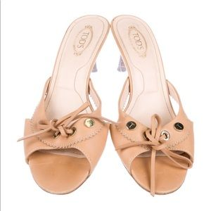 Tods Tan Leather Kitty Heels Slide On Sandals Sz 7